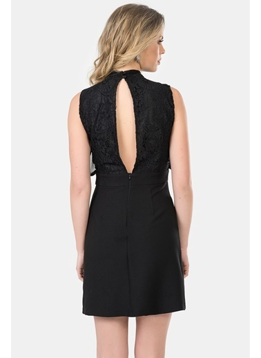 İroni Dantelli Dik Yaka Mini Abiye Elbise Siyah